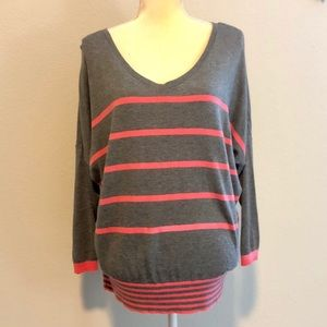 Loft pink and grey blouse